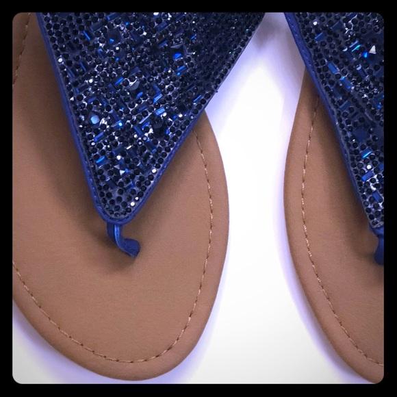 Sz6 Sparkly Navy Blue Sandals Nwt